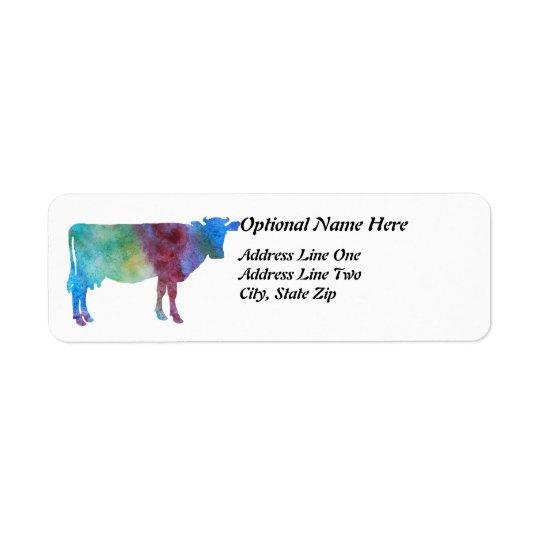 Vaca del arco iris con el texto adaptable etiqueta de remite