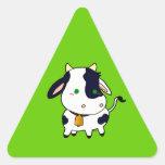 Vaca del bebé pegatina triangular