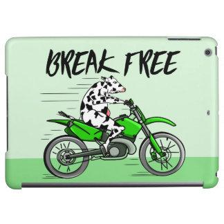Vaca del dibujo animado que monta una moto