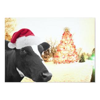Vaca del invierno del navidad de Mooey en el gorra Invitación 12,7 X 17,8 Cm