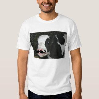 Vaca divertida de Derp con la camiseta del bigote