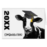 Vaca divertida de la graduación de la enhorabuena  felicitacion