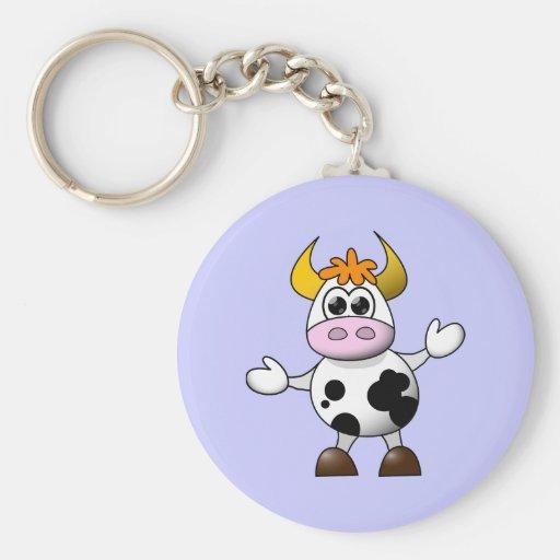 Vaca divertida del dibujo animado llaveros