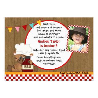 Vaca en el cumpleaños del Bbq de la foto del gorra Invitacion Personalizada