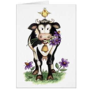 Vaca en flores - tarjeta de nota