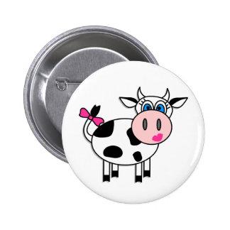 Vaca feliz del chica chapa redonda de 5 cm