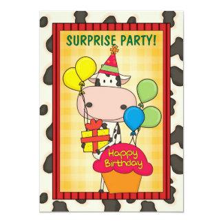 Vaca - fiesta de cumpleaños de la sorpresa invitación 12,7 x 17,8 cm