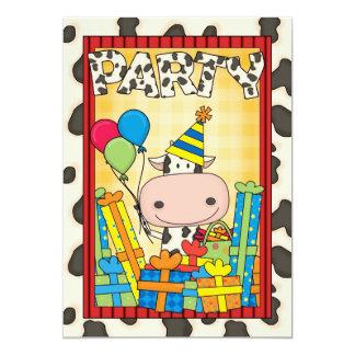 Vaca - fiesta del cumpleaños del niño invitación 12,7 x 17,8 cm