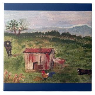 vaca, gallo, granero del tabaco azulejo cuadrado grande