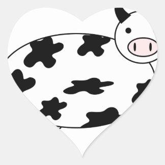 Vaca ilustrada pegatina en forma de corazón