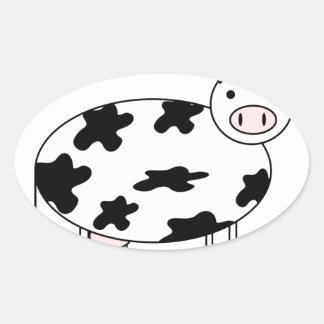 Vaca ilustrada pegatina ovalada