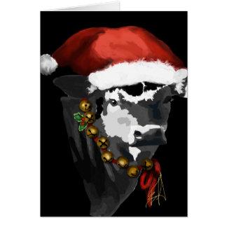 Vaca lechera blanco y negro para el navidad tarjeta