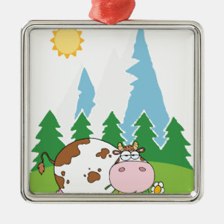 Vaca lechera de la montaña con la flor en boca adorno navideño cuadrado de metal