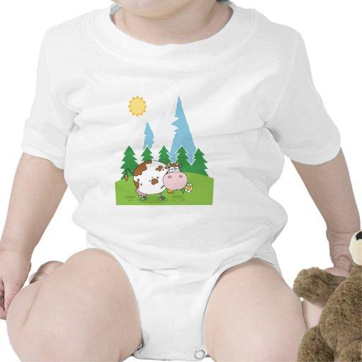 Vaca lechera de la montaña con la flor en boca trajes de bebé