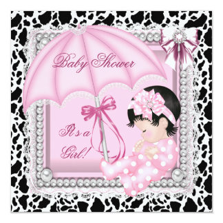 Vaca linda blanca rosada bonita de la fiesta de invitación 13,3 cm x 13,3cm