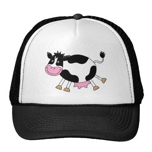 Vaca linda del dibujo animado gorro de camionero de Zazzle.
