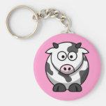 Vaca manchada divertida del dibujo animado con la  llavero