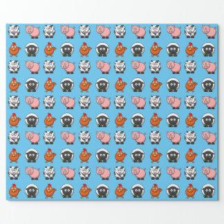 Vaca, ovejas, cerdo y pollo en azul papel de regalo
