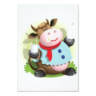 Vaca que lleva a cabo un vidrio de invitaciones de invitación 8,9 x 12,7 cm