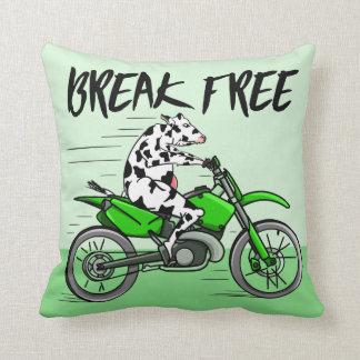 Vaca que monta una moto cojín decorativo