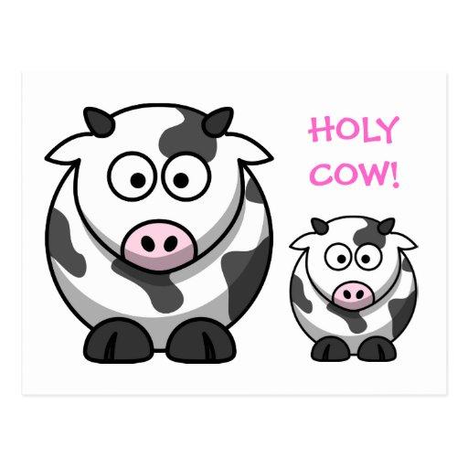 Vaca SANTA de la nariz del rosa del dibujo animado Postal