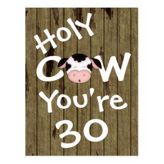 Vaca santa divertida usted es postal de 30 cumplea
