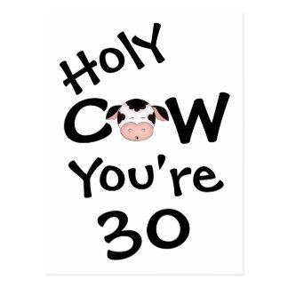 Vaca santa divertida usted es postal de 30