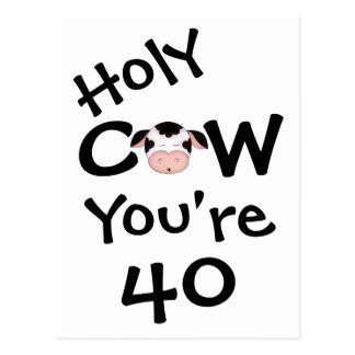 Vaca santa divertida usted es postal de 40