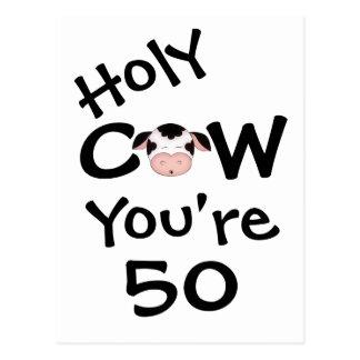 Vaca santa divertida usted es postal de 50