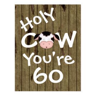 Vaca santa divertida usted es postal de 60 cumplea