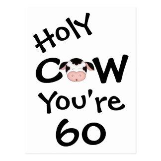 Vaca santa divertida usted es postal de 60