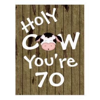 Vaca santa divertida usted es postal de 70 cumplea