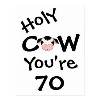 Vaca santa divertida usted es postal de 70