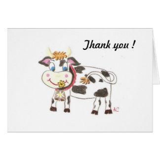Vaca suiza, gracias tarjeta de nota