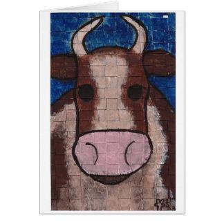 Vaca tejida tarjeta de felicitación