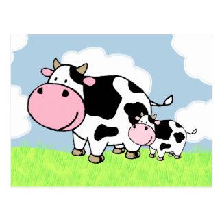 Vaca y bebé postal