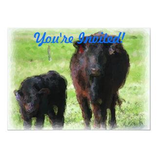 Vaca y becerro invitación 12,7 x 17,8 cm