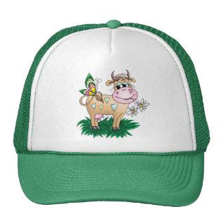 Vaca y mariposa lindas gorras de camionero