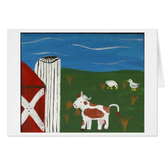 Vaca y patos tarjeta de felicitación