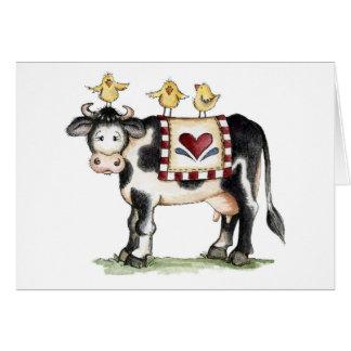 Vaca y polluelos - tarjeta de nota