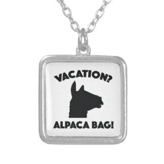 ¿Vacaciones? ¡Bolso de la alpaca! Collar Plateado