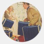 Vacaciones de familia del vintage, maletas de los pegatinas redondas