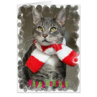 Vacaciones de invierno felices con el gato tarjeta de felicitación