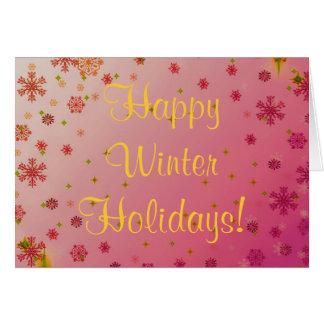 Vacaciones de invierno felices fijadas - rosa felicitación
