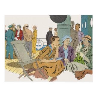 Vacaciones del vintage, barco de cruceros de los p tarjeta postal