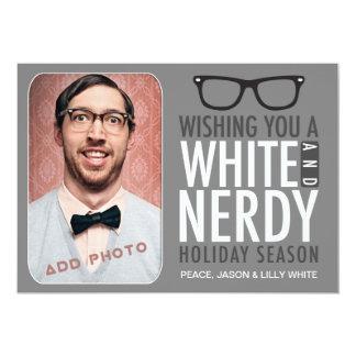 Vacaciones Nerdy blancas 311 Invitación 12,7 X 17,8 Cm