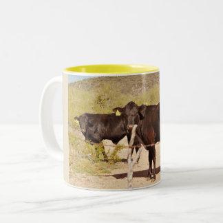 Vacas de Brown en taza de café del cromo
