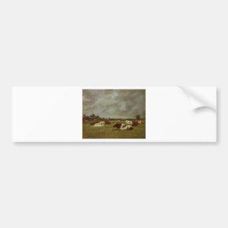 Vacas en un prado, efecto de la mañana de Eugene Pegatina Para Coche