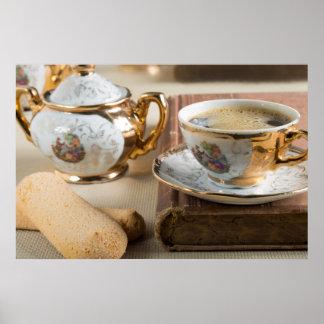 Vajilla de la porcelana del alemán del siglo XIX Póster