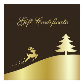 Vale de oro del árbol de navidad y del reno invitación 13,3 cm x 13,3cm
